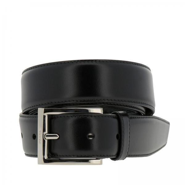 immagini dettagliate speciale per scarpa grande qualità Cintura Uomo Prada Nero | Cintura Classica In Pelle Liscia ...