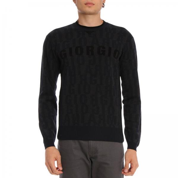Pullover a girocollo in lana vergine jacquard con logo all over