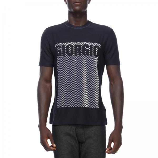 T-shirt a girocollo in jersey di viscosa stretch con firma Giorgio Armani chevron