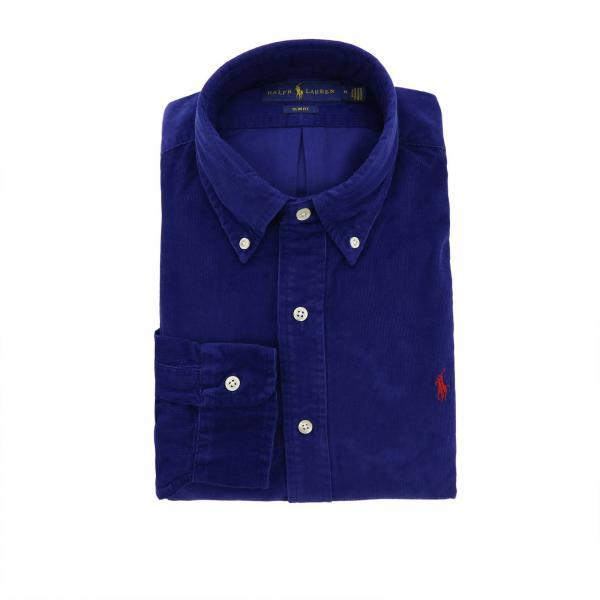 100% autentico f8178 5cbc7 Camicia slim fit in velluto a micro righe con collo button down