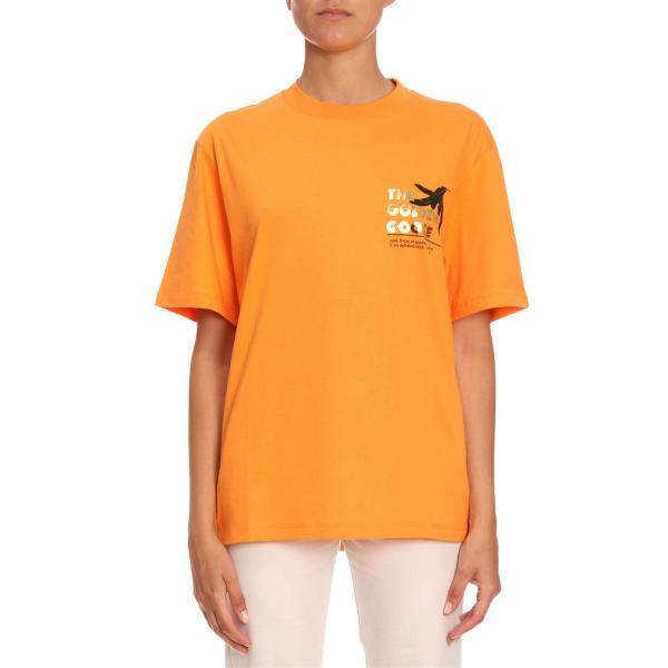 T-shirt a maniche corte in cotone con stampa logo gommato