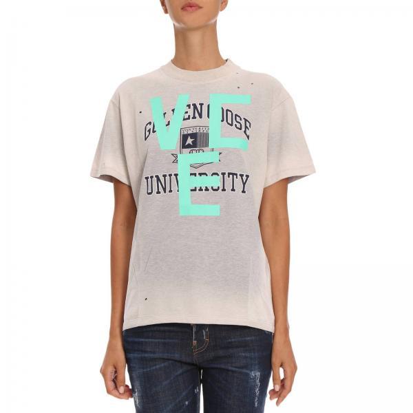 T-shirt a maniche corte in cotone con maxi stampa College
