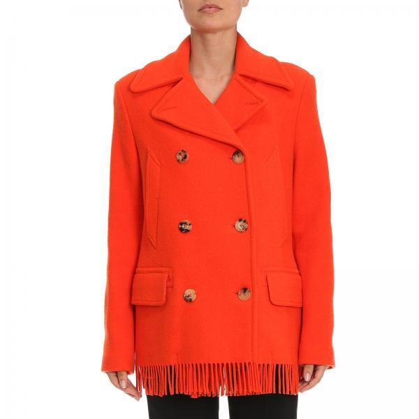 Cappotto a doppiopetto in panno di misto lana con frange sul fondo