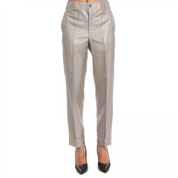 Pantalone Classic in misto lana vergine con fantasia gessata lurex