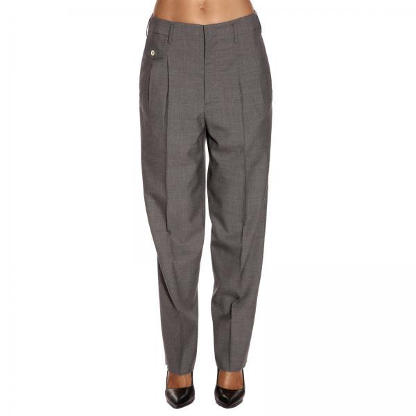 Pantalone ampio a vita alta con pence e tasche america in fresco di lana vergine