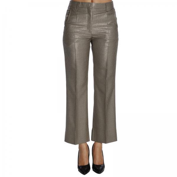Pantalone ampio con tasche america e fantasia micro pied de poule lurex