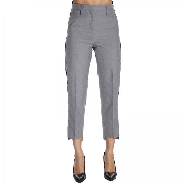 Pantalone classic slim in lana con piping e tasche america