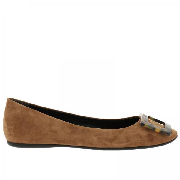 Gommette ballet flats with RV turtle buckle in suede