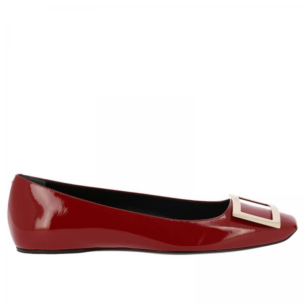Trompette squared ballet flats in patent leather with RV metal buckle