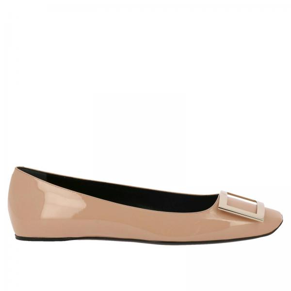 Trompette squared patent leather ballet flats with RV metal buckle