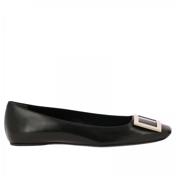 Trompette squared ballet flats in leather with RV metal buckle