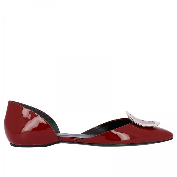 Sexy shock dorsay ballet flats New Chips patent leather RV metal buckle