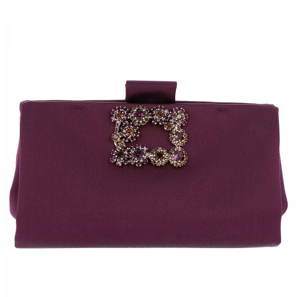 Clutch Soft Flowers in raso con maxi strass buckle