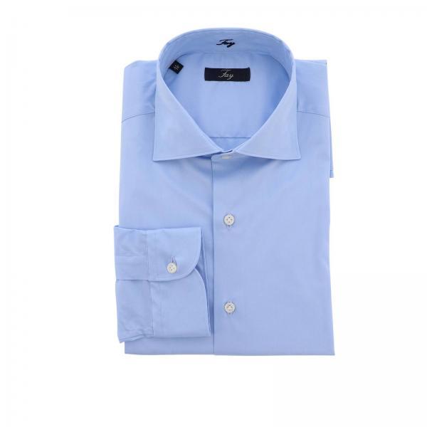 Camicia in popeline di cotone stretch con collo francese