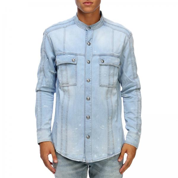69f1cdc7 Balmain Men's Denim Shirt | Shirt Men Balmain | Balmain Shirt ...