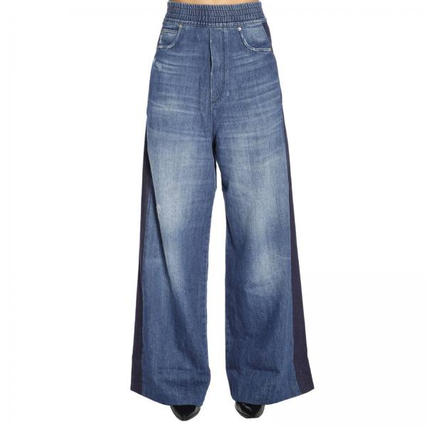 Jeans ampio a 5 tasche stretch used con vita a fascia e bande a contrasto