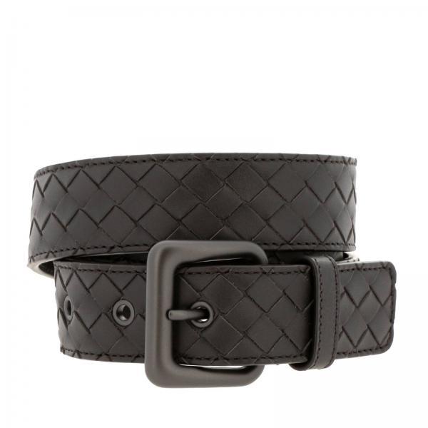 Cintura in pelle con lavorazione intrecciata e fibbia classica