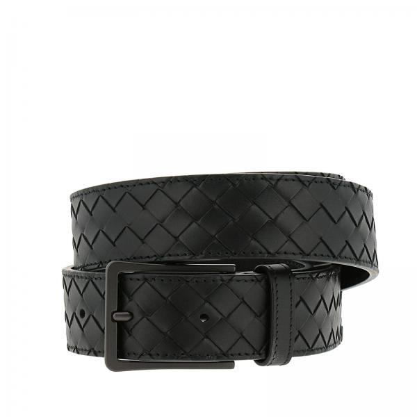 Cintura Classic in vera pelle con lavorazione intrecciata e fibbia sottile