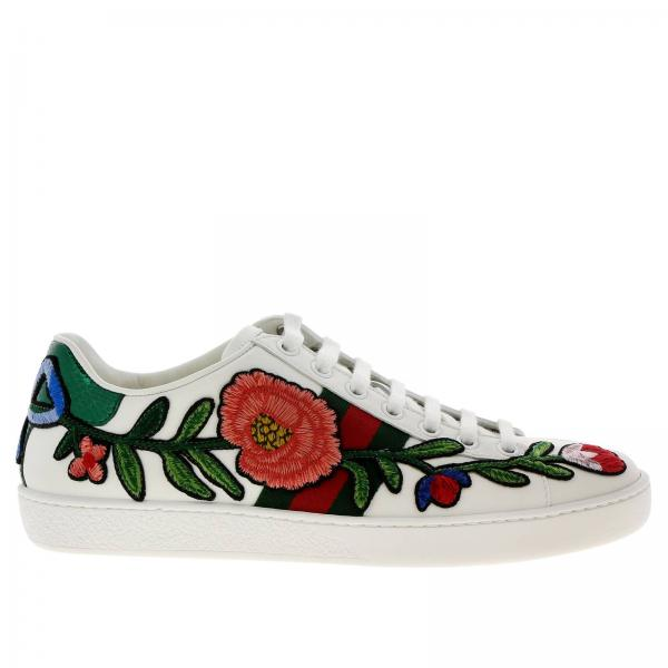 Donna Bianco Ace Sneakers Gucci Pelle In New Stringata UPn6w