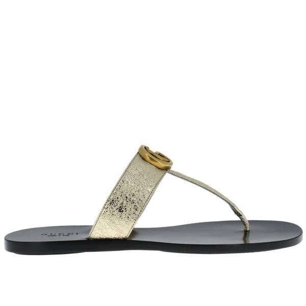 11bc5f8613946b Gucci Women s Gold Flat Sandals