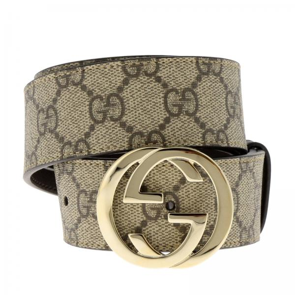 2f9d28a829 Cintura Donna Gucci Beige | Cintura Interlocking In Pelle Con Stampa ...