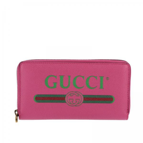 Portafoglio Print continental in pelle martellata con stampa Gucci
