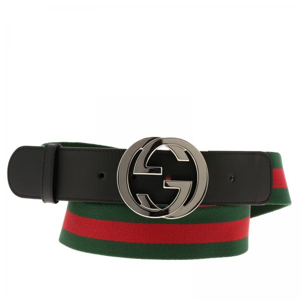 Cintura Uomo Gucci.Cintura Interlocking In Pelle E Motivo Web Gucci