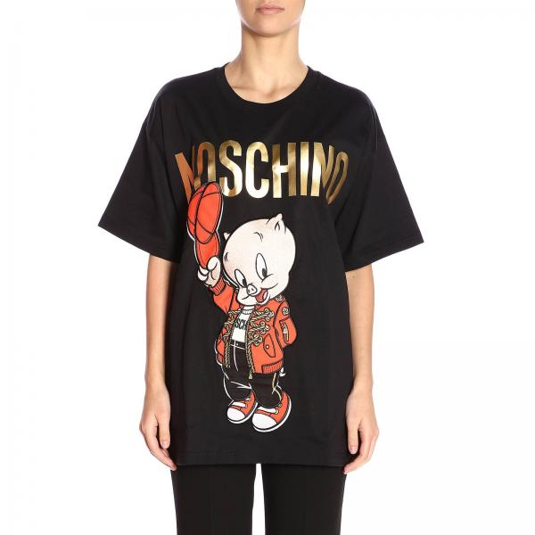 shirt T Maxi Moschino Pig By Stampa Corte Maniche Con Over A 0w8Nnm
