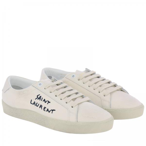 Laurent In Sneakers Tela Used Stringata Saint E Pelle Con Effetto Logo De29WHYbEI