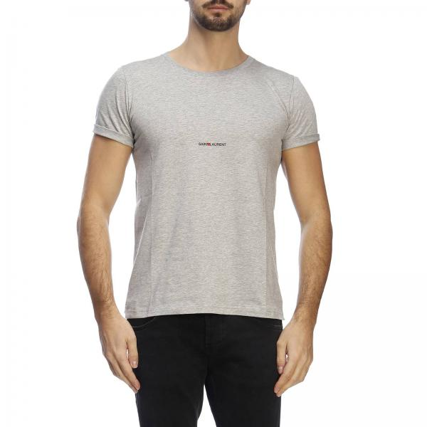 shirt Basic A Laurent In Jersey Micro T Girocollo Stampa Saint Con SzVpUM