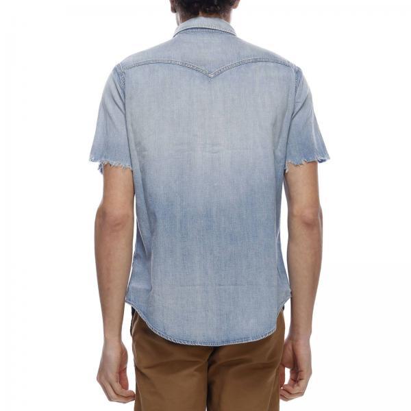 Con A Camicia Toppe Tasche Collo Doppie Effetto E Italiano Denim WHIE92D