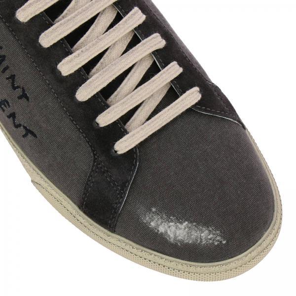 Saint Used Laurent Tela In Stringata E Logo Effetto Camoscio Con Sneakers XP8ONnk0w