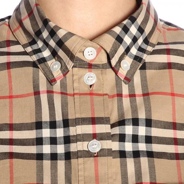 Lapwing Burberry Camicia Button Cotone In Check Con Collo Down thrsdCQxB