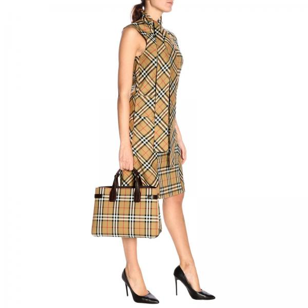 Tracolla A Pelle Con BordeauxBanner Donna In Amovibile Burberry Acipi 4076952 Medium House Mano Check Borsa Canvas 1cK3lFJT