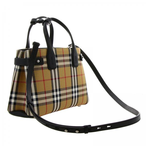 Acipi Donna E Borsa Canvas Burberry Pelle Con In Amovibile NeroBanner 4076948 Tracolla Mini Small Check X8wO0Pkn