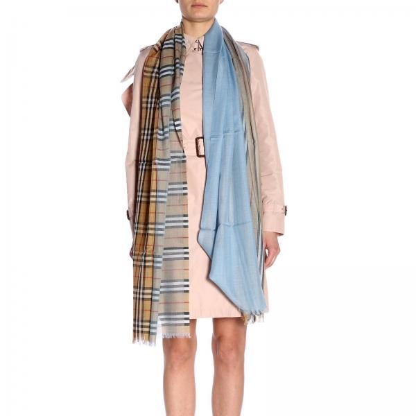 vendita calda a buon mercato assolutamente alla moda brillantezza del colore Foulard gauze novelty in lana e seta con motivo check burberry