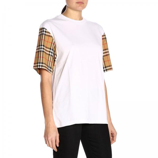 Con Check Maxi Stampa Burberry Sulle Maniche Serra Regular A T shirt Girocollo BordCeWQx