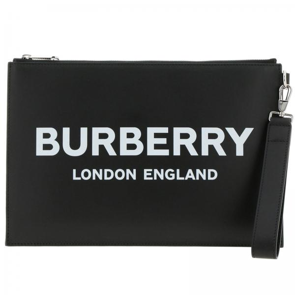 Pochette in pelle con maxi stampa Burberry London England