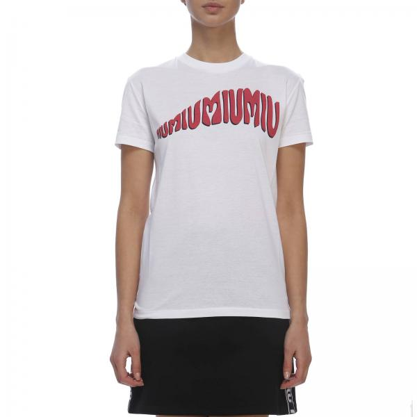 T-shirt a maniche corte con maxi stampa Miu Miu