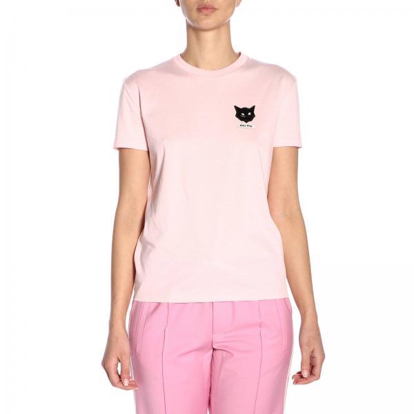 Gatto T shirt A Maniche Miu Ricamo Con Corte 8Ovmw0Nn