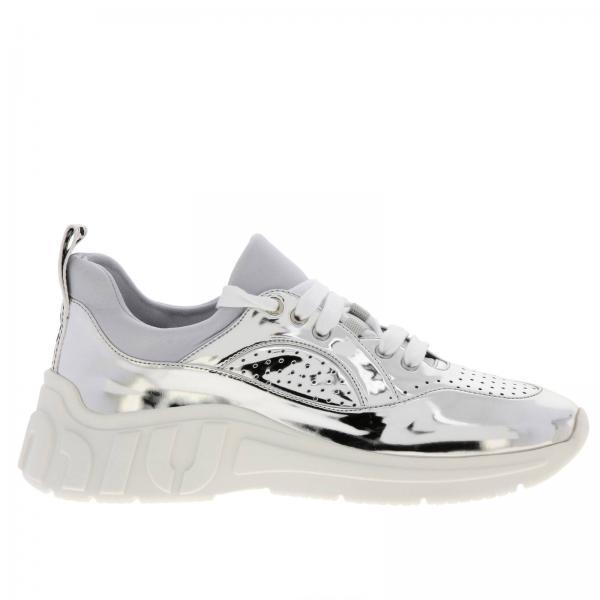 Sneakers Miu XL in pelle metallizzata con micro fori by Miu Miu