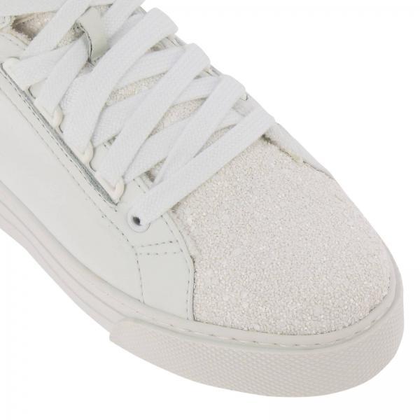 Miu Sneakers A E Glitter Polacco Stringata Perline Micro Logo Liscia Con In Pelle tdrQxshC