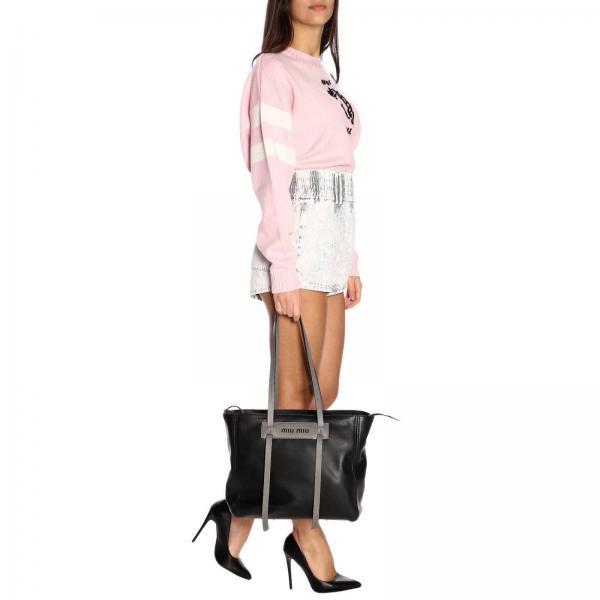 5bg141 2bya Liscia MiuShopping In Donna Pelle Con Maxi Spalla Logo A Large Vera Borsa TwZiOuPkX