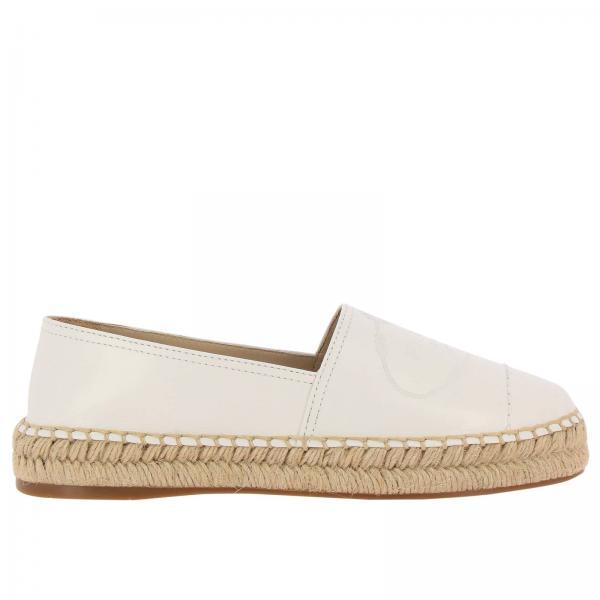 Espadrillas slip on in vera pelle luxury con big logo Prada impresso e suola in corda