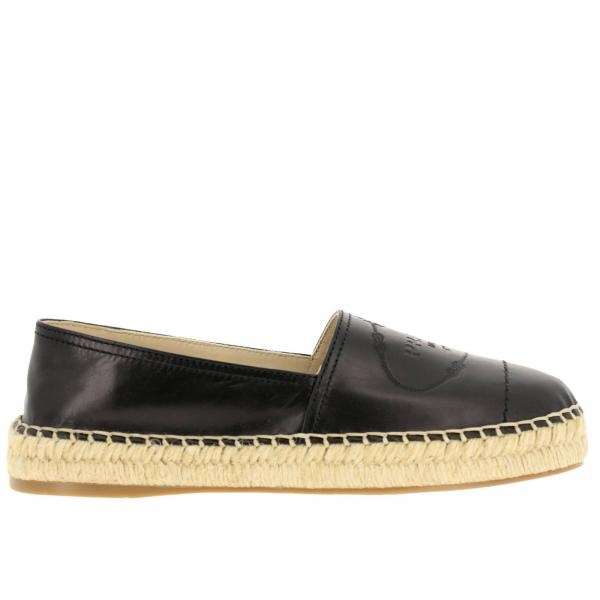 Espadrillas slip on in vera pelle luxury con big logo Prada impresso e suola in corda