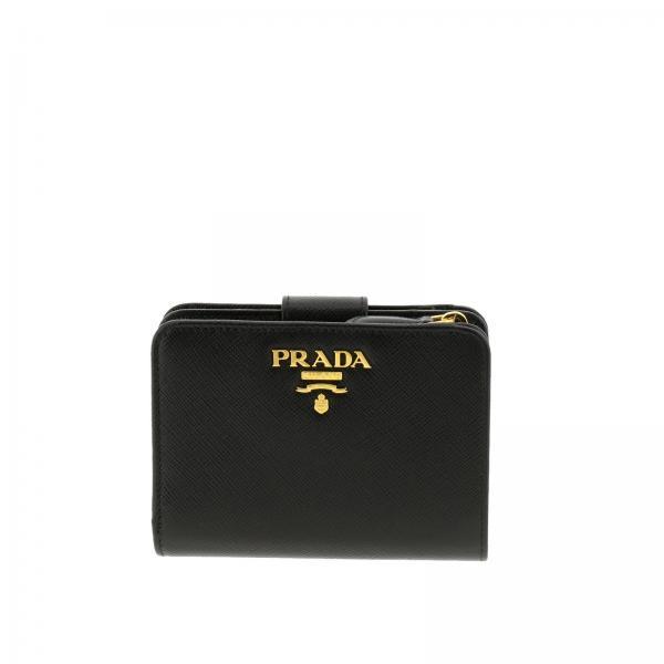 taglia 40 0a668 f2ea8 Portafoglio small in pelle saffiano con logo metallico prada