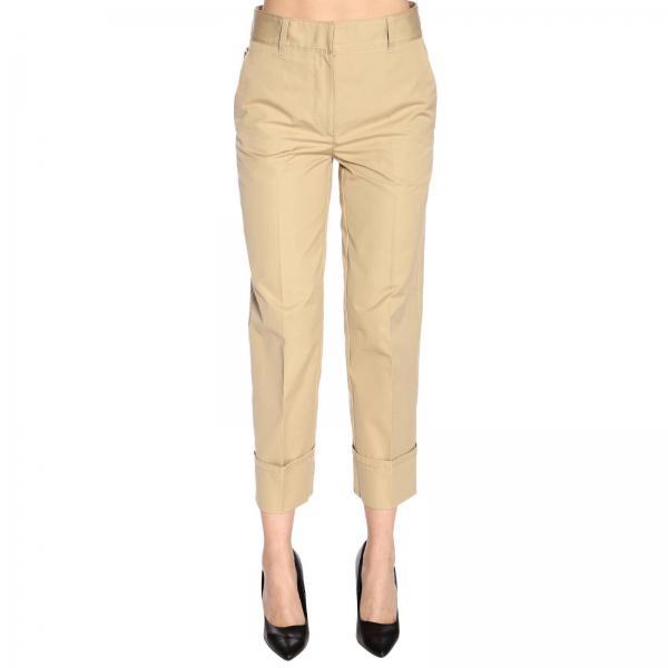 Pantalone classico in popeline di cotone con logo Prada e risvolti sul fondo