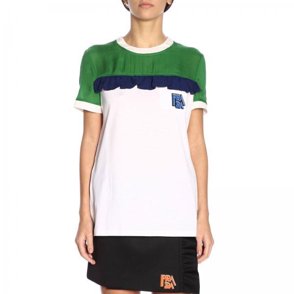 T-shirt a maniche corte in jersey e chiffon con rouches