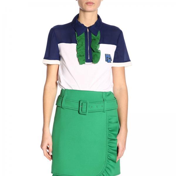 Polo a maniche corte in jersey bicolor con zip e rouches di chiffon