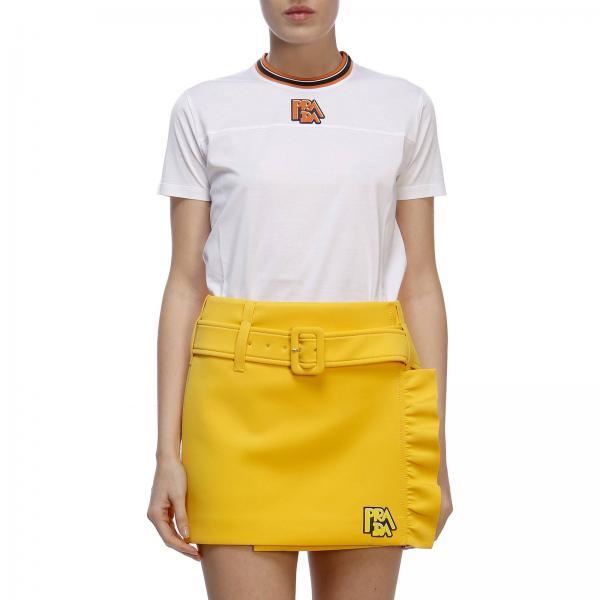 T-shirt a maniche corte con bordo a contrasto e logo Prada